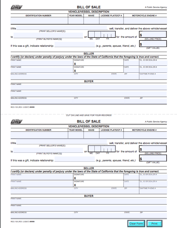 Release Of Liability Ca >> California Bill Of Sale Form For Cars