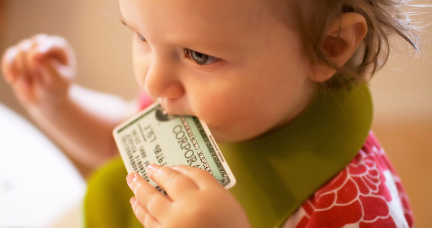 baby with credit card