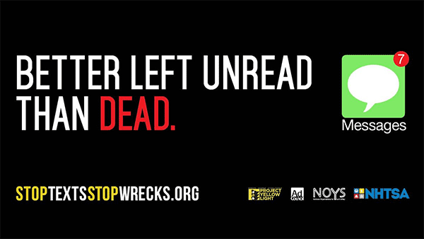 better left unread than dead texting and driving billboard psa