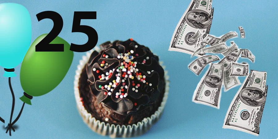 birthday balloons, money, cupcake