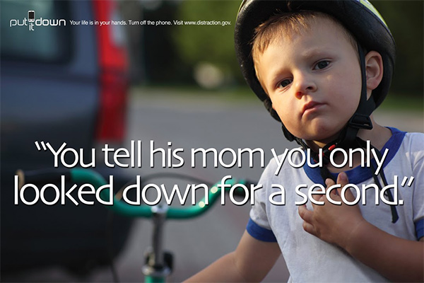 you tell his mom you only looked down for a second texting driving psa sign