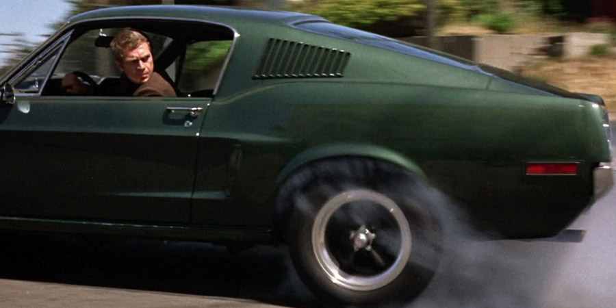 Bullitt movie, Steve McQueen in car