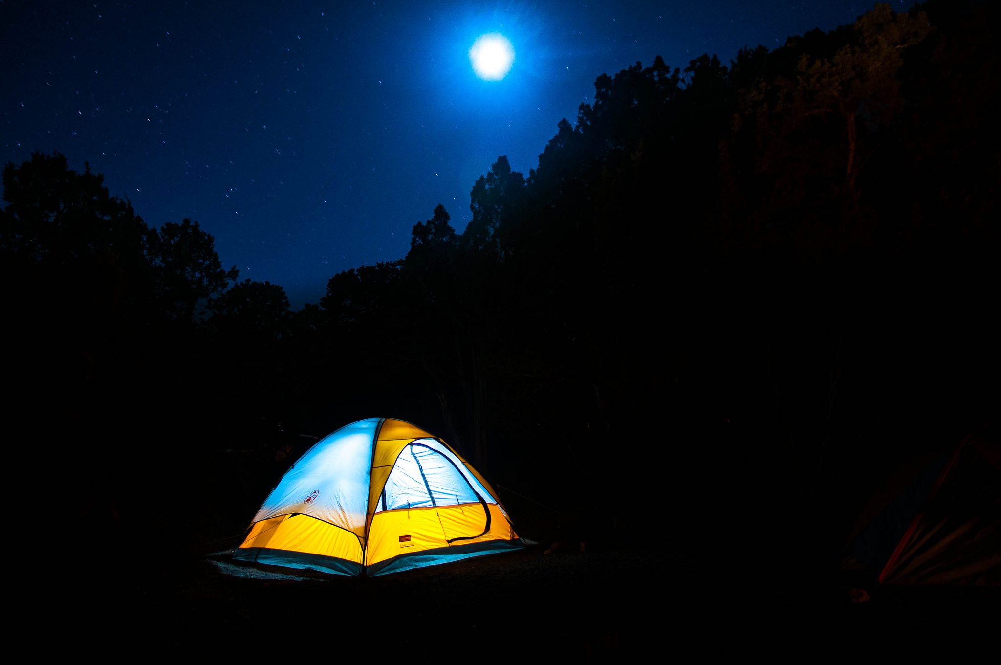 tent camping under the stars