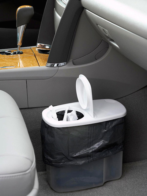 cereal container trash can in car