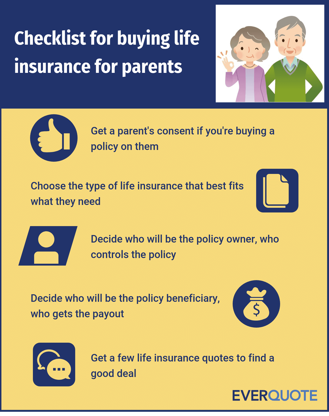 Checklist for buying life insurance for parents