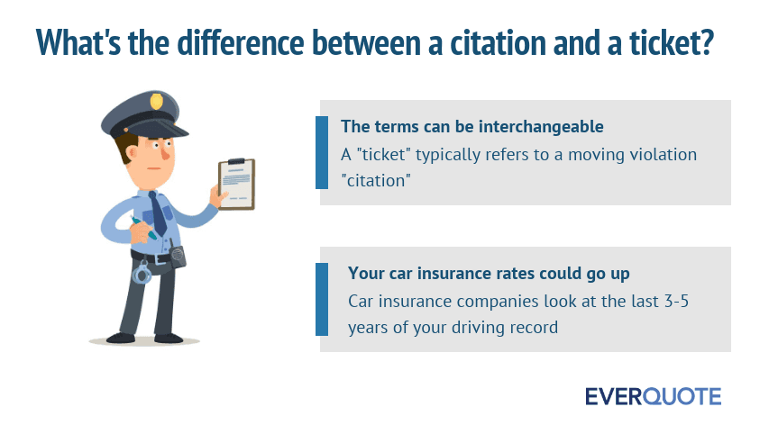 Difference between a citation and a ticket