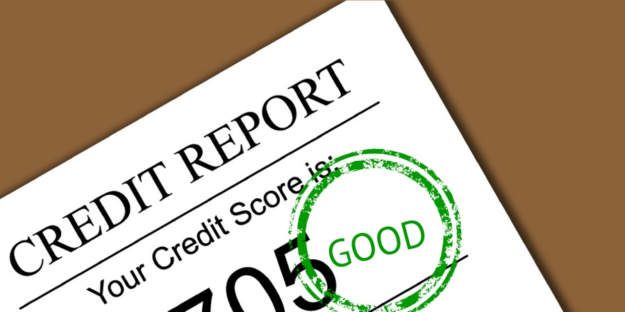 credit report with good credit score stamp