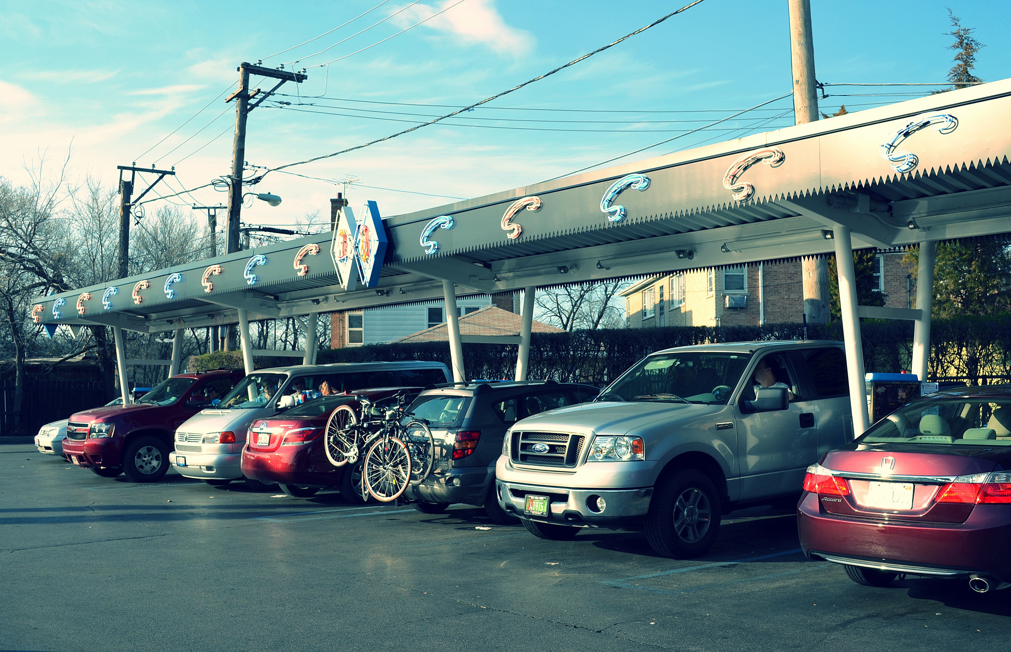 cars at drive up diner