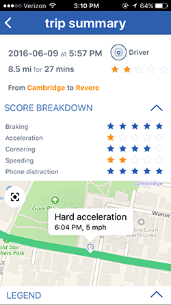 EverDrive Trip Summary - Hard Acceleration