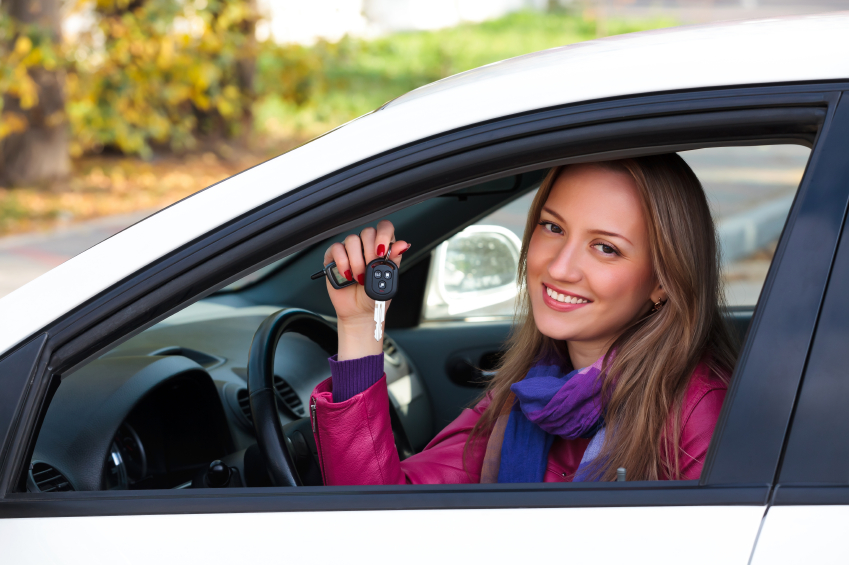 girl holding car key, new car