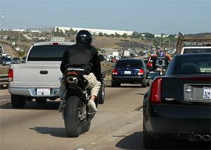 motorcycles lane splitting, reckless driving