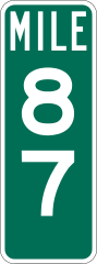 green mile marker sign
