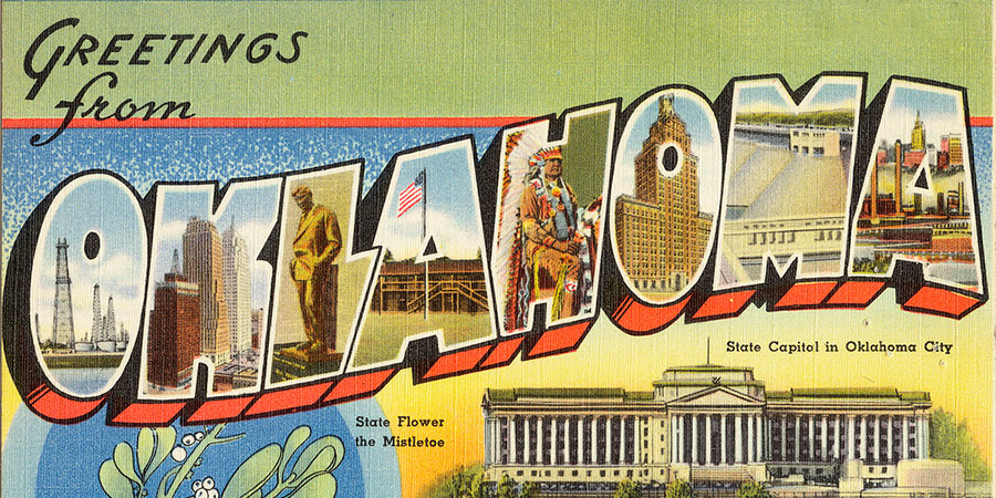 greetings from oklahoma postcard poster