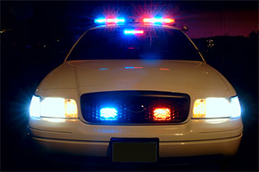 cop car with lights on sirens, patrol car, police car