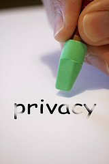 privacy text on paper with green eraser