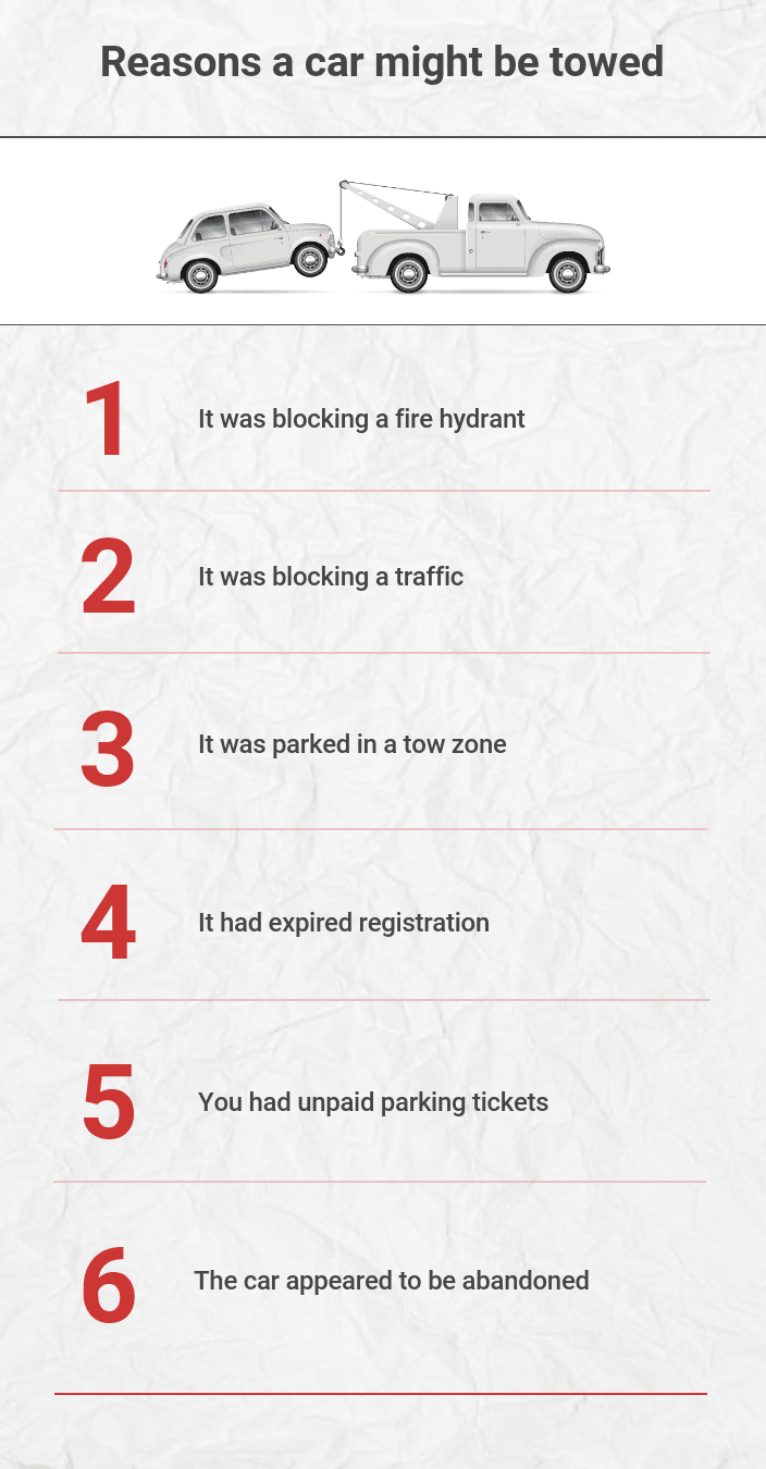 Reasons a car might be towed