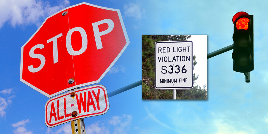 stop sign red light fines car insurance