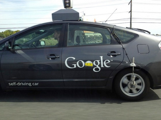 Google self driving car on road