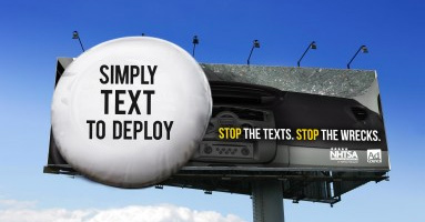 simply text to deploy stop the texts stop the wrecks billboard psa
