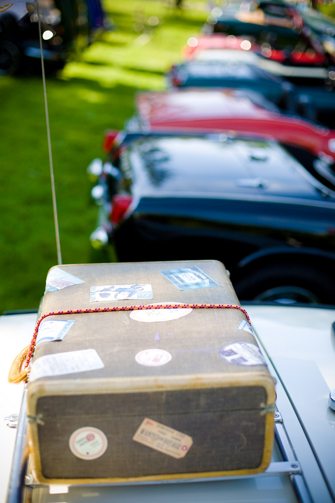 vintage suitcase on top of car