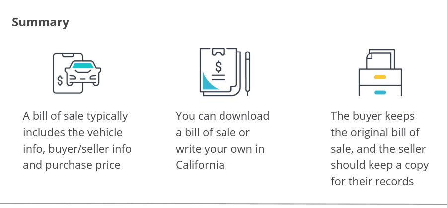 Summary of a California bill of sale form for vehicles