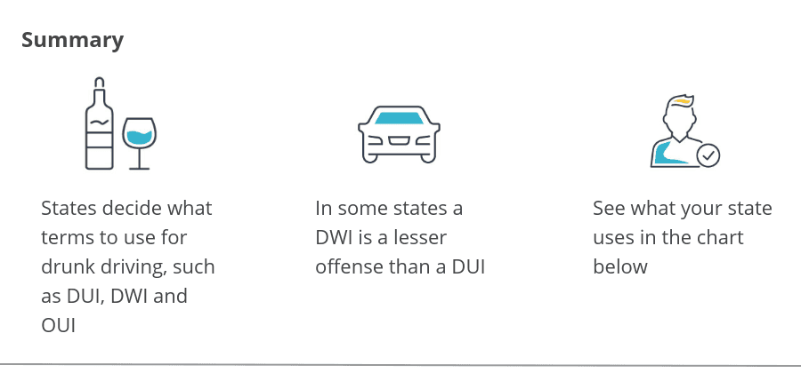 Summary of DUI vs. DWI