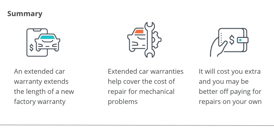 Summary of extended car warranty