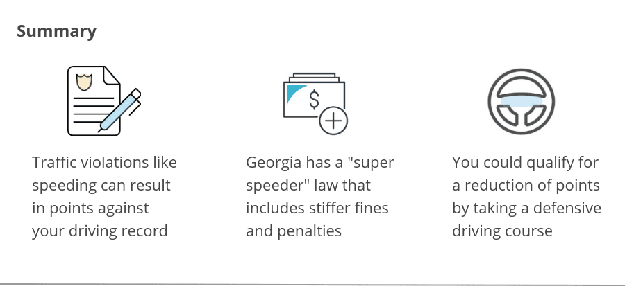 Summary of Georgia traffic tickets and points