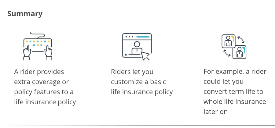 Summary of life insurance riders