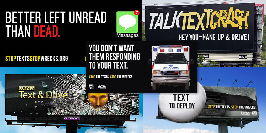 texting distracted driving billboards