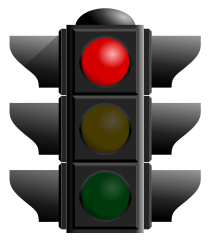traffic light signal lit up red